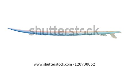 Vintage 80's Surfboard isolated on white - stock photo