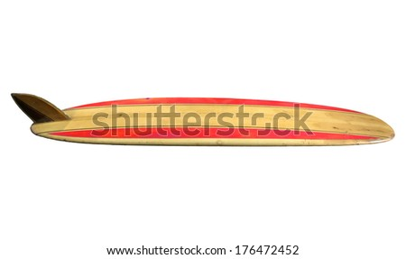 Vintage 60's Surfboard isolated on white - stock photo