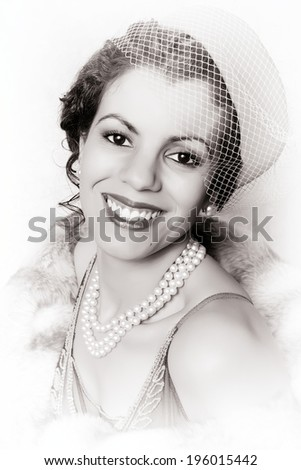 Vintage 1920s woman wearing a pink pillbox hat - stock photo