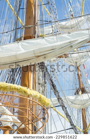 Vintage sailboat rigging 2 - stock photo