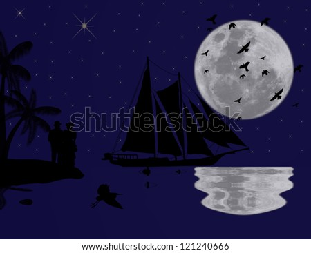 Vintage sailboat sailing at blue sunset on tropical seascape and couple - stock photo