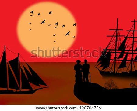 Vintage sailboat sailing at red sunset on tropical seascape and couples - stock photo