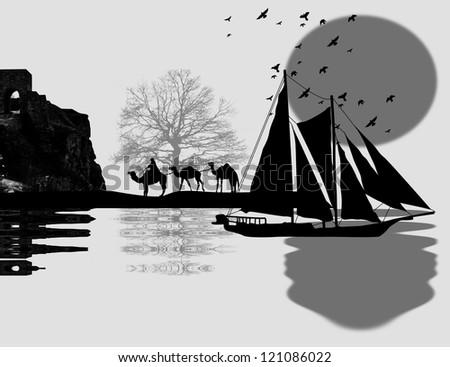 Vintage sailboat sailing at sunset on arabian seascape and camel caravan on island - stock photo