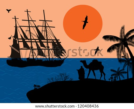 Vintage sailboat sailing at sunset on tropical seascape and camel with bedouin on island - stock photo