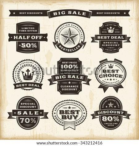 Vintage sale labels set - stock photo