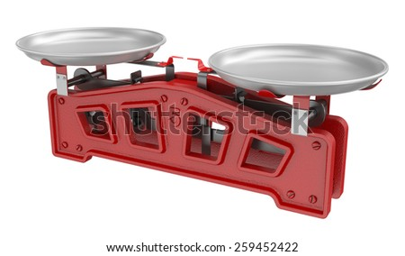 Vintage scales isolated on white - stock photo