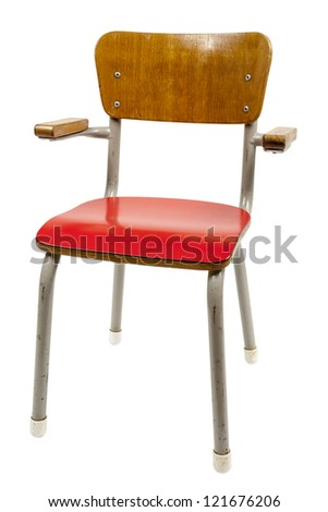 vintage school chair isolated on white - stock photo