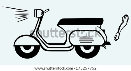 Vintage scooter. Image isolated on blue background. Raster version  - stock photo