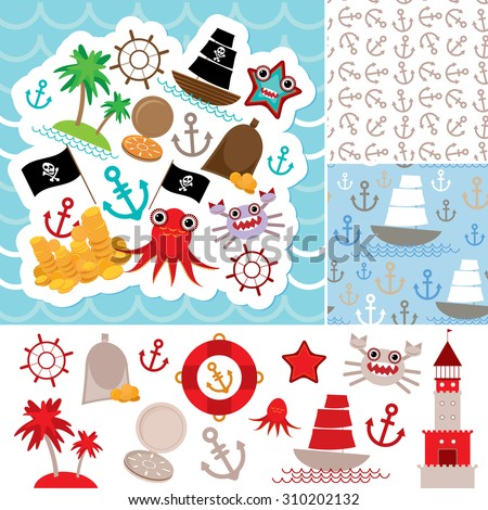Vintage scrap nautical card and seamless pattern with sea animals, boats pirates. cute sea objects collection.  illustration