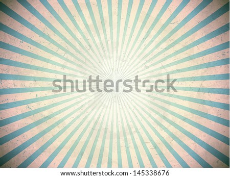 Vintage scratched sun rays on the blue background - stock photo