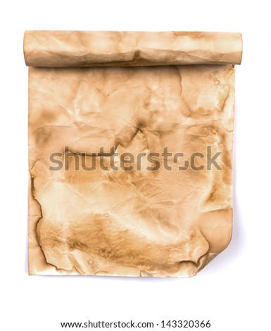 Vintage scroll paper isolated on white background
