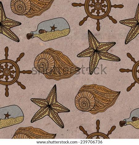 Vintage sea pattern - stock photo