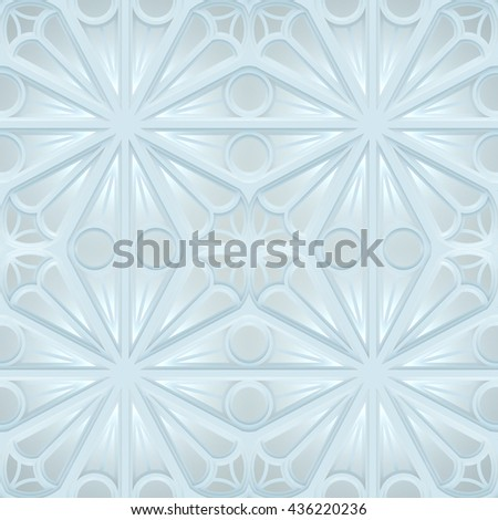Vintage Seamless 3d texture based on sacred geometry. The pattern of the elements of a Gothic church: circles, crosses, intersection. White version. - stock photo