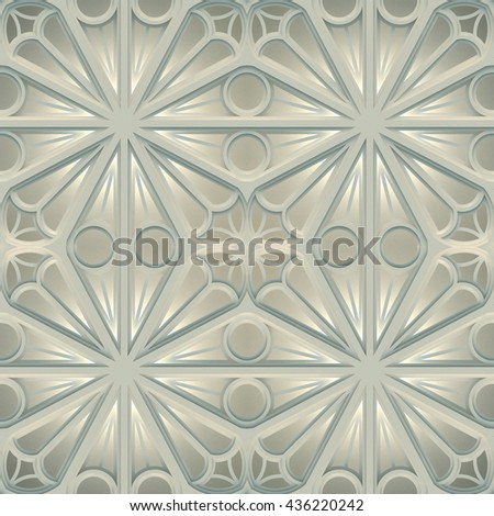 Vintage Seamless 3d texture based on sacred geometry. The pattern of the elements of a Gothic church: circles, crosses, intersection. Light metal version. - stock photo