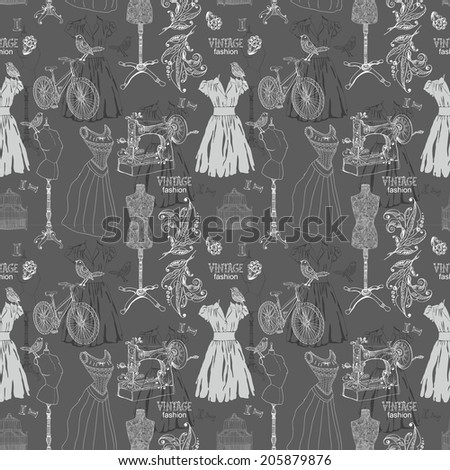 Vintage Seamless pattern - fashion and sewing, illustration - stock photo