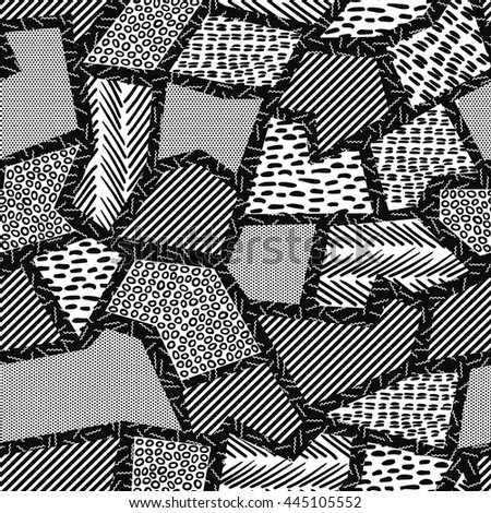 Vintage seamless pattern in black and white with retro geometric shape collage, 80s memphis fashion style. Ideal for web background, print or fabric.