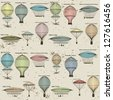 Vintage  seamless pattern of hot air balloons and airships ,  background. Seamless pattern can be used for wallpaper, pattern fills, web page background,surface textures. Gorgeous seamless  background - stock photo