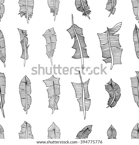 Vintage seamless pattern with hand-drawn feathers. Illustration - stock photo