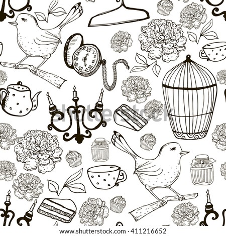 Vintage seamless pattern with retro items. Black and white  ink texture. Perfect background for fabric, packaging, textile or other surfaces