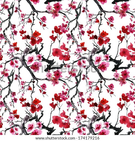 Vintage seamless pattern with watercolor flowers - stock photo