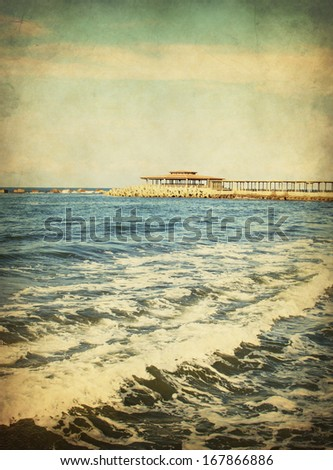 Vintage seascape,Sea waves  - stock photo