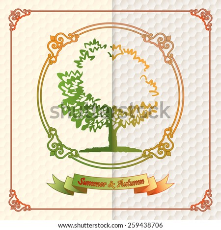 Vintage seasons template with subtle colors change from Summer to Autumn on tree and banner text; Hexagonal pattern background. - stock photo