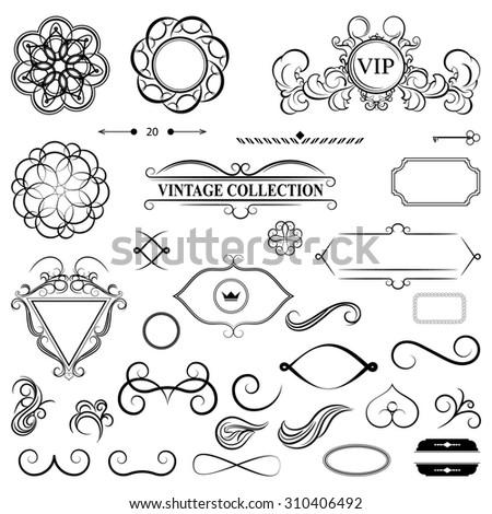Vintage set decor elements for menu. Elegance old hand drawing set. Outline ornate swirl leaves, label,  shield and decor elements in raster. Sketch for writer, wedding or restaurant. - stock photo