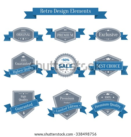 vintage set of labels with blue ribbons. Guaranted, premium quality, best choice, sale design element collection. Banners templates in retro style - stock photo