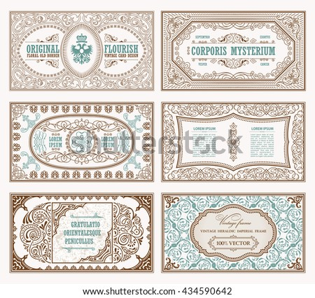 Vintage set retro cards. Template greeting card wedding invitation. Line calligraphic frames. Floral engraving design labels advertising place for text. Flourishes frame background. Raster copy - stock photo