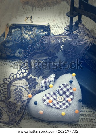 vintage sewing arrangement - stock photo