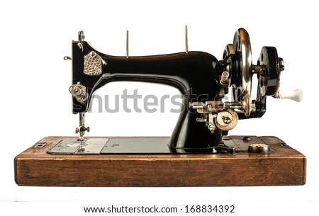 Vintage sewing machine white isolated - stock photo