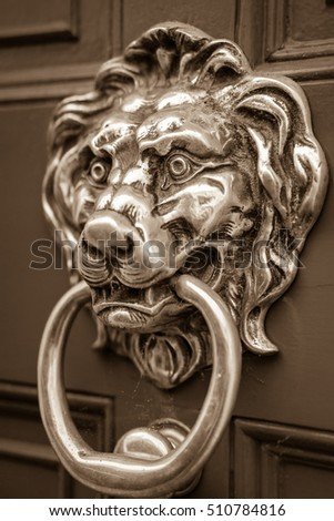 lion door knocker other names polished brass stock photo vintage shiny metallic wooden solid