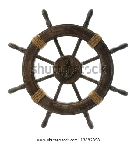 Vintage Ship Wheel isolated over a white background - stock photo