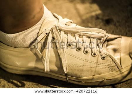 Vintage shoe color scheme .The shoe lace  - stock photo