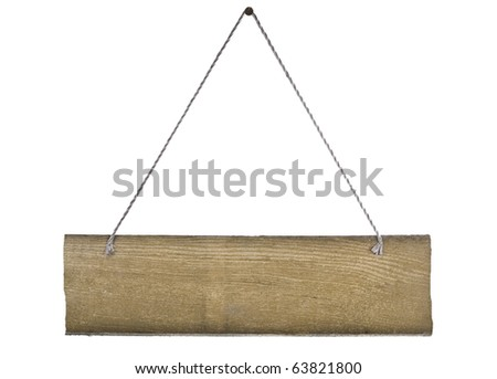 Vintage sign board hanging with cord - stock photo