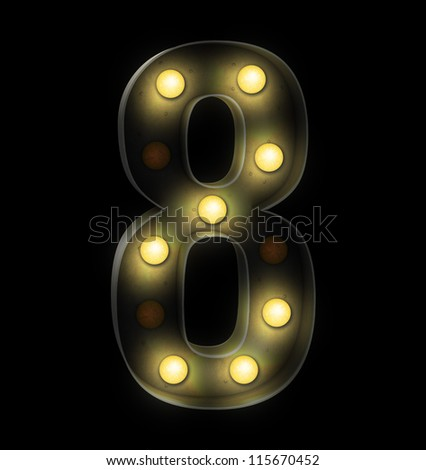 Vintage sign light number eight - stock photo