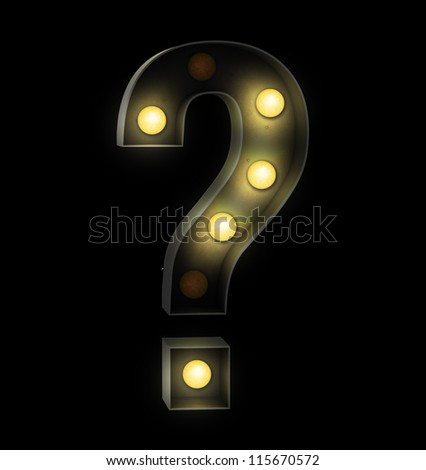 Vintage sign light question - stock photo
