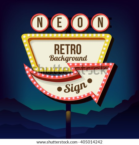 neon sign lights retro billboard city stock vector