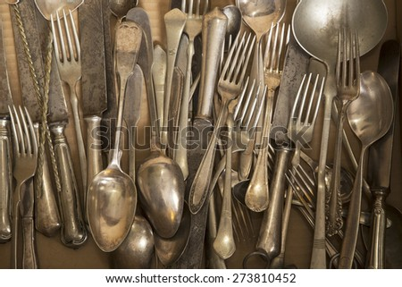 Vintage silver cutlery close up - stock photo