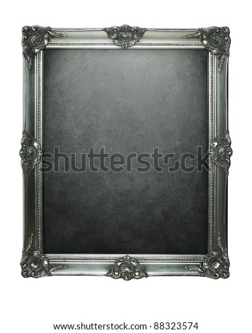 Vintage silver frame with clipping path for inside and outside - stock photo