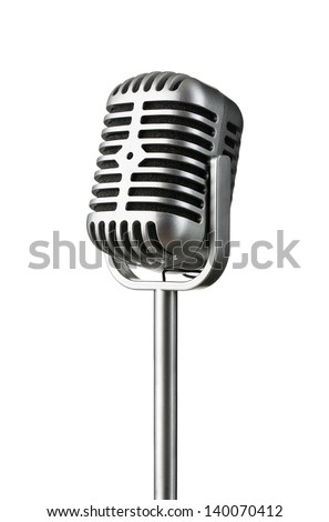 Vintage silver microphone isolated on white background - stock photo