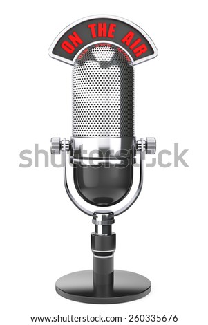 Vintage silver microphone with On The Air Sign on a white background - stock photo