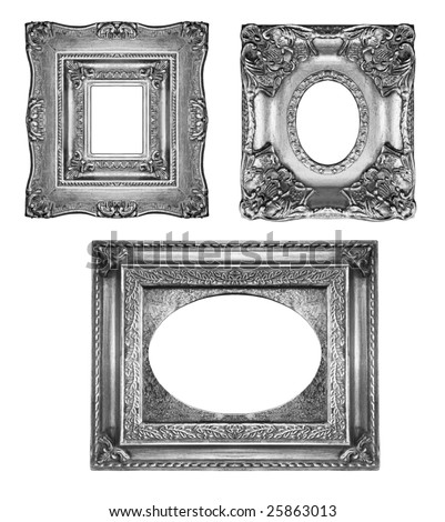 Vintage silver ornate frames, similar available in my portfolio - stock photo