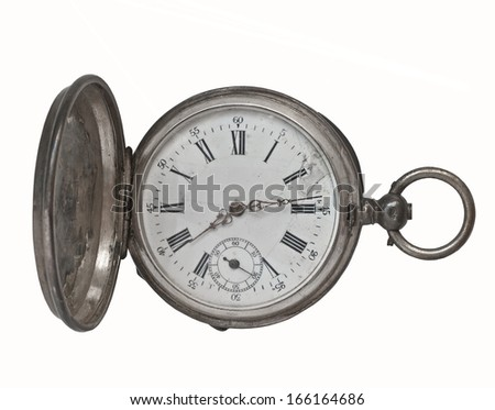 vintage silver pocket watch over white - stock photo