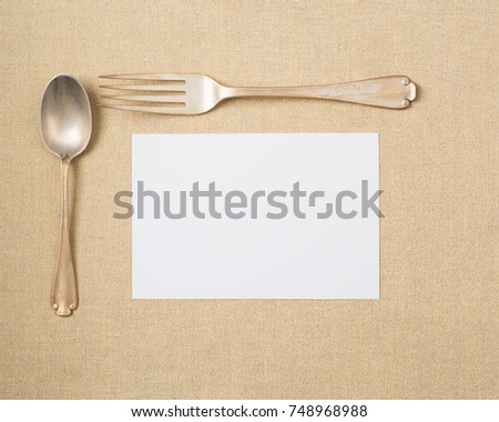Vintage Silverware Setting of fork and spoon on Holiday Gold Lame\u0027 Table Place mat with & Vintage Silverware Setting Fork Spoon On Stock Photo (Royalty Free ...