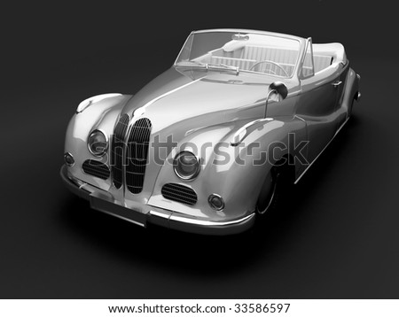 Vintage sivler car on dark background. For other views or colors of this car please check my portfolio. - stock photo