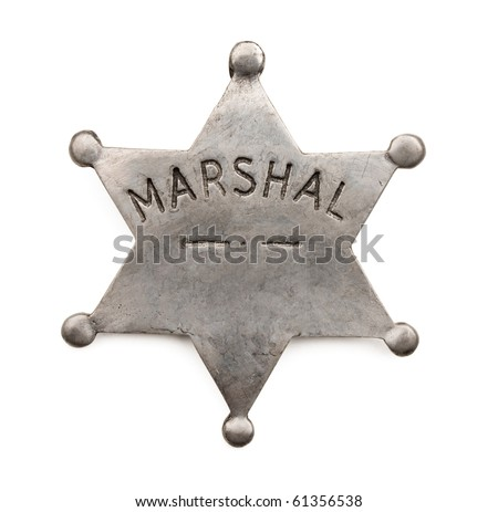 Vintage six point marshal star badge isolated on white. - stock photo