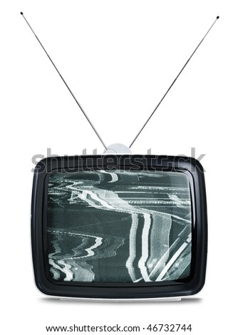 Vintage sixties TV set isolated on white background - stock photo