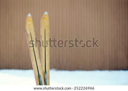 Vintage Ski Tips - stock photo