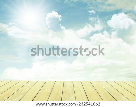 Vintage Sky and clouds and Wood Floor  - stock photo